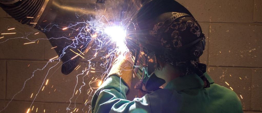Welding and Fabrication student